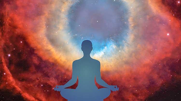 Yogi meditating at the spiritual eye