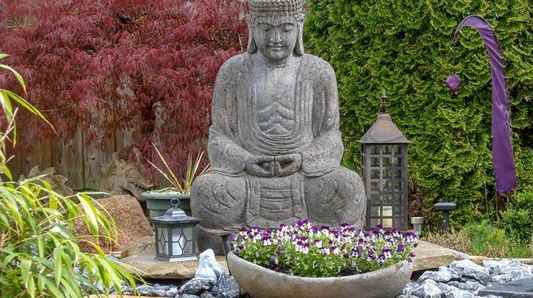 Peaceful Meditation Garden with Buddha