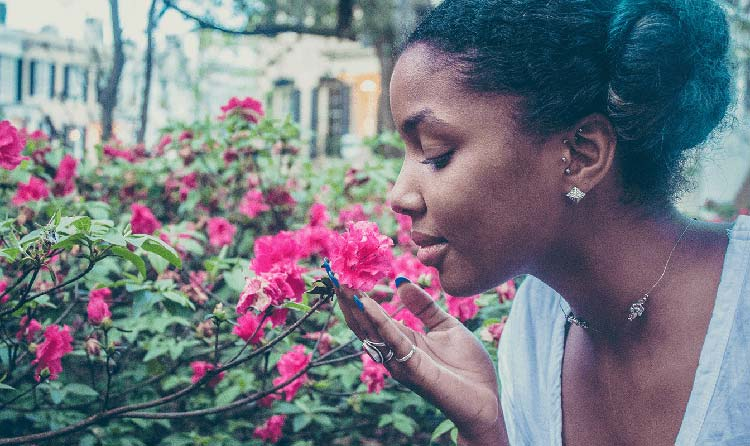 Contented woman smell the roses
